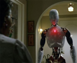 "An NS-5 robot enforces V.I.K.I.'s new plan to ""protect"" humans by not allowing them outdoors."