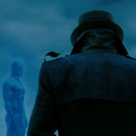Rorschach approaches Dr. Manhattan outside of Adrian's arctic hideout (Watchmen).